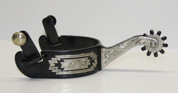 Sporen Show schwarzer Stahl mit Silber verziert
