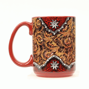 Kaffeebecher Tooled Leather Floral braun