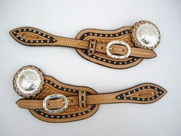 Sporenriemen - US Leder - zweifarbig mit Steinen - verzierter Schnalle und einem Concho
