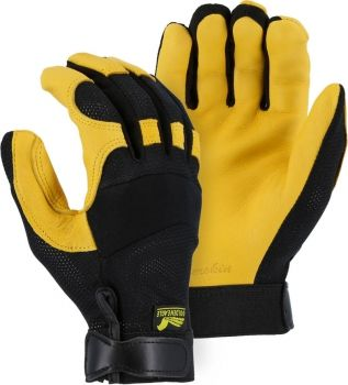 """Majestic"" GOLDEN EAGLE - Deerskin Leather Glove - Stretch Mesh Back for Ventilation"