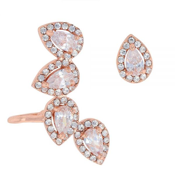 Rose Gold Teardrop Ear Climber Set