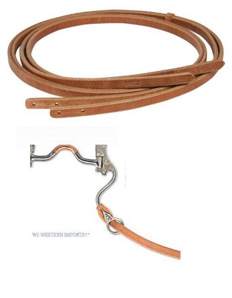 Zügel Harness Leder mit Schlitz für das Gebiss (No-Loop Reins)1,6 cm breit ca. 230 cm lang