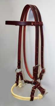 Side Pull - Latigo Leather - Double Rope Noseband