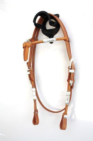 Kopfstück Herm. Oak Leder mit Futurity Stirnband mit Silberrollen und Silberbuckle