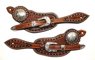 Sporenriemen #36 - US Leather - Two Tone - Tooled - Dots - graviertes Buckle Set & Conchos