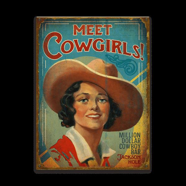 Schild Meet Cowgirls Sign
