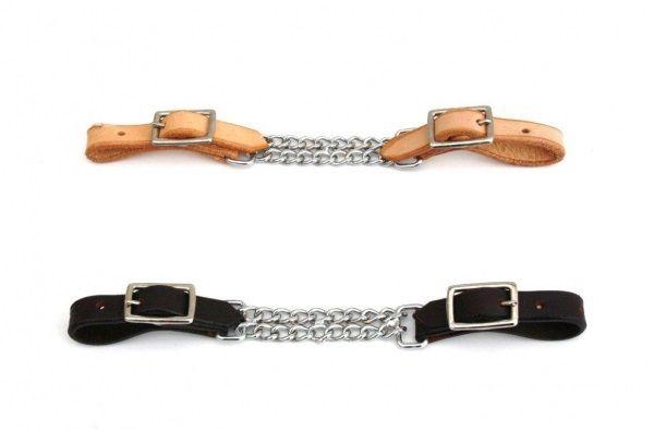 Kinnkette - doppelt - US Leder- in hell oder dunkel