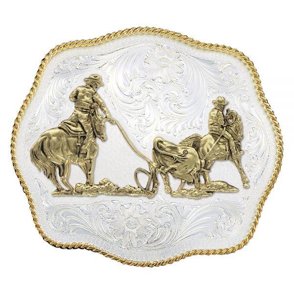 "Montana Silversmiths Buckle gewellt, ca. 11,4x9,5cm (4,5x3,75"") silbergraviert Motiv ""Team Ropers"""