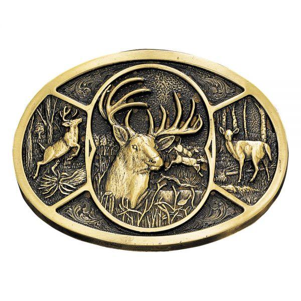 Montana Silversmiths Buckle oval Antik Motiv Hirsch